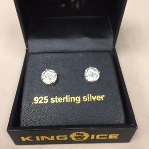 NIB King Ice Gold Color 3D Button Earrings #268
